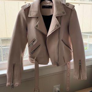Zara Basic Light Pink Suede Jacket